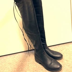 knee high boots, black leather